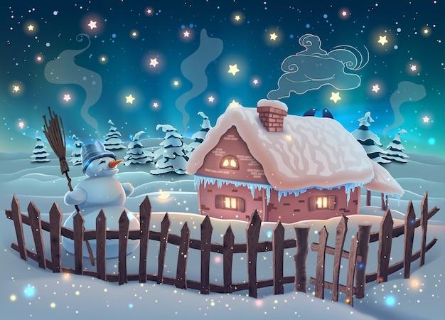 Paisagem noturna de inverno com árvores de natal, casa e boneco de neve no céu estrelado