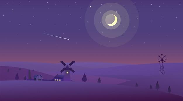 Paisagem noturna de natureza no campo com a fazenda e uma lua crescente