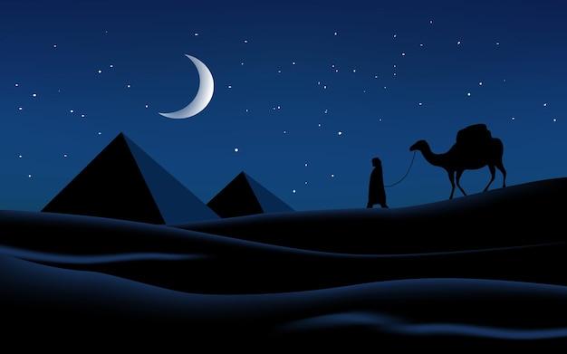 Paisagem noturna do deserto com pirâmides e camelos