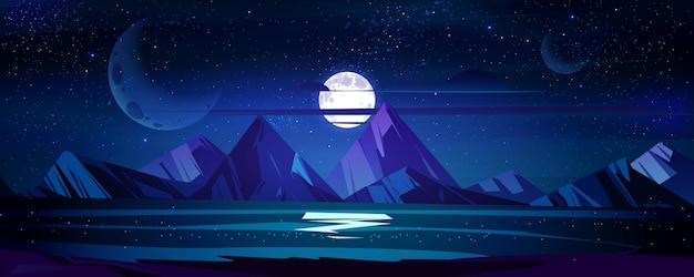 Paisagem noturna do oceano, lua cheia e estrelas brilham