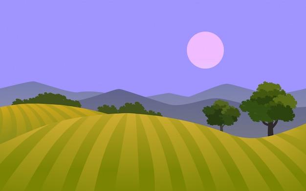 Paisagem noturna em terras agrícolas