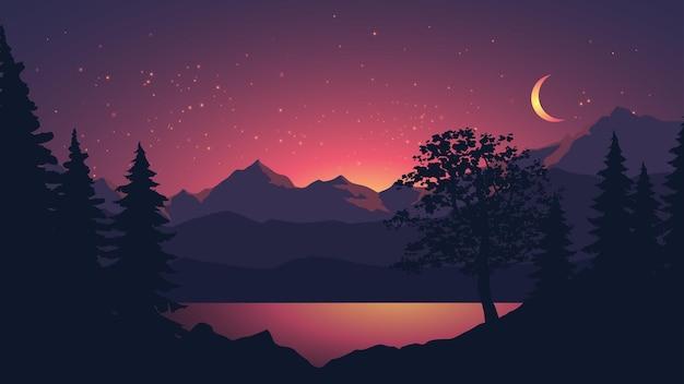 Paisagem noturna tranquila com floresta de lago e montanha