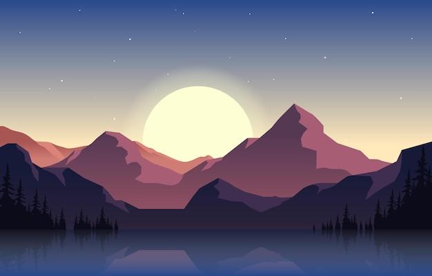 Paisagem pacífica de panorama de montanha em ilustração plana monocromática