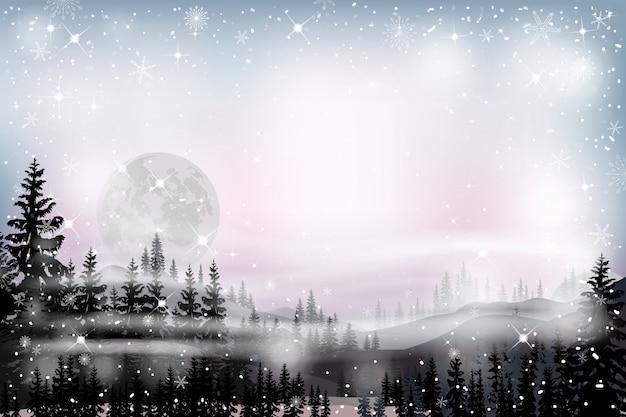 Paisagem panorama da noite estrelada com cheio por trás da montanha e pinheiros