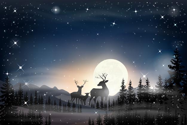 Paisagem panorama da noite estrelada com lua cheia