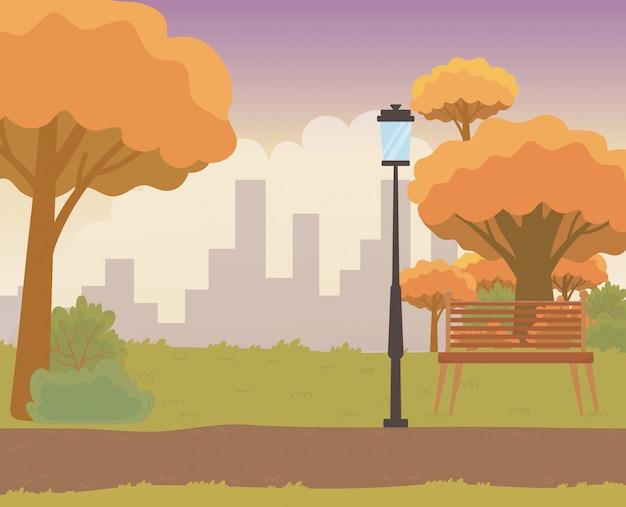 Paisagem, parque, árvores, desenho