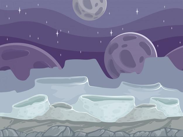 Paisagem perfeita de lua. ilustração rochosa dos desenhos animados ao ar livre fantástico com chão de pedras diferentes