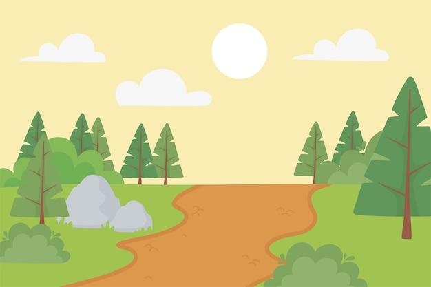 Paisagem pinheiros caminho pedras arbusto ensolarado dia ilustração panorâmica