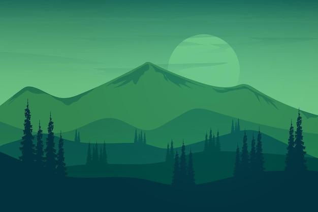 Paisagem plana com belas montanhas verdes com floresta densa