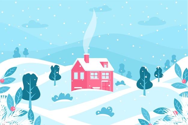 Paisagem plana de inverno