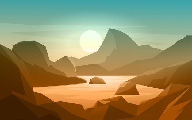 Paisagem plana de montanha com rio e montanha
