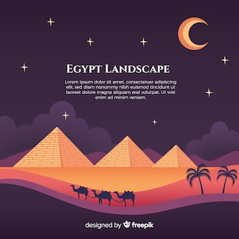 Paisagem plana de noite com pirâmides egípcias e caravana de camelos