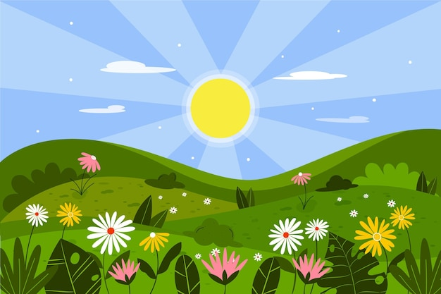 Paisagem plana de primavera