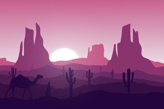 Paisagem plana, deserto, pessoas andando de camelo