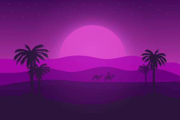 Paisagem plana do deserto à tarde com um lindo gradiente roxo