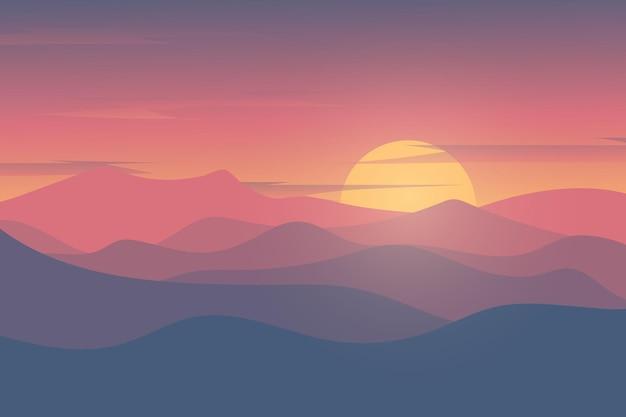 Paisagem plana lindo pôr do sol sobre as montanhas