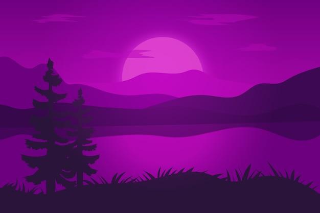 Paisagem plana um lindo lago decorado em roxo escuro