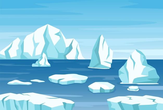 Paisagem polar ártica com icebergs, geleiras e rochas de gelo cena vetorial de montanhas da antártica