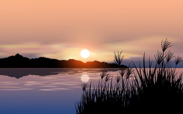 Paisagem por do sol do lago com silhueta de grama