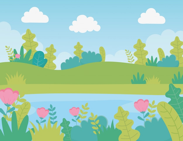 Paisagem prado flores lago folhagem natureza vegetação imagem