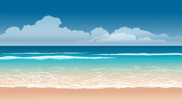 Paisagem praiana com ondas e nuvens
