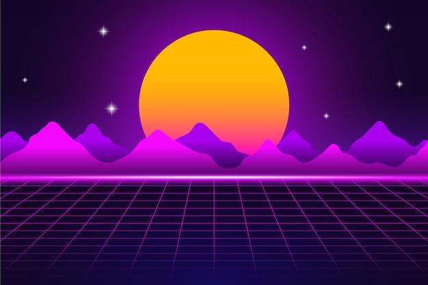Paisagem retro do futurismo dos anos 80