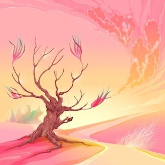 Paisagem rosa
