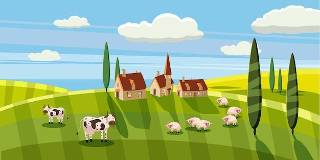 Paisagem rural adorável vaca ovelhas pastando fazenda flores pastagem