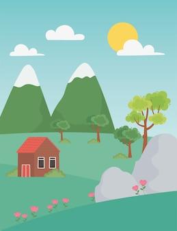 Paisagem rural casa flores pedras montanhas pico e árvores ilustração