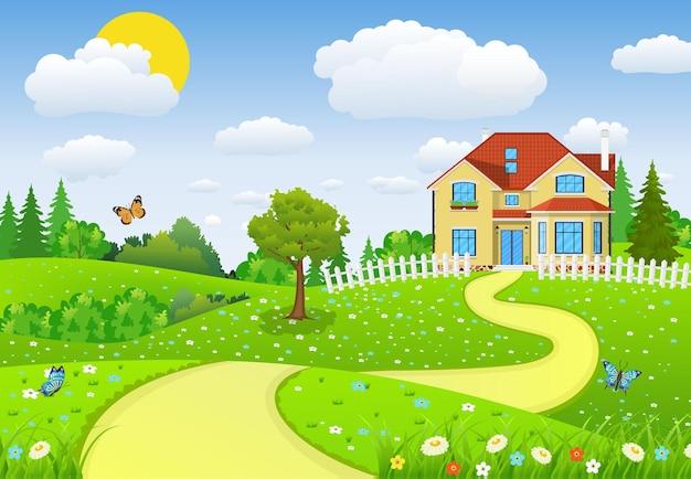 Paisagem rural com campos e morros e campos e colinas. paisagem de verão com casas.