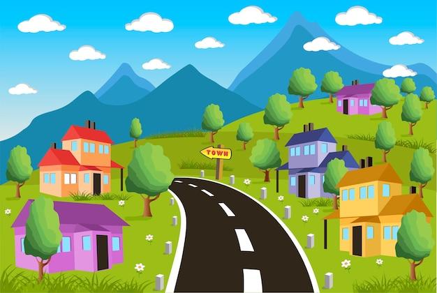 Paisagem rural, com, cidade pequena