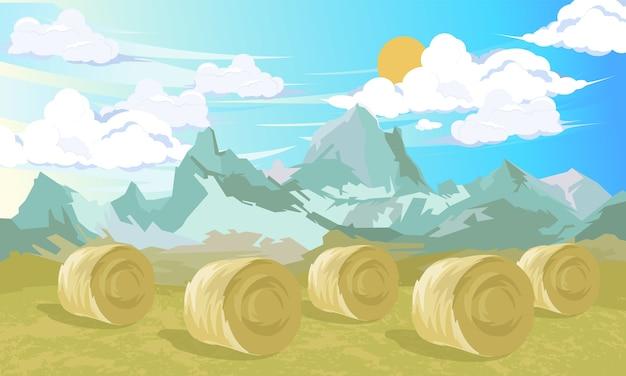 Paisagem rural com feno de feno