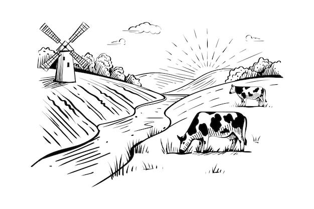 Paisagem rural com moinho de vento, vacas, campos de trigo e rio