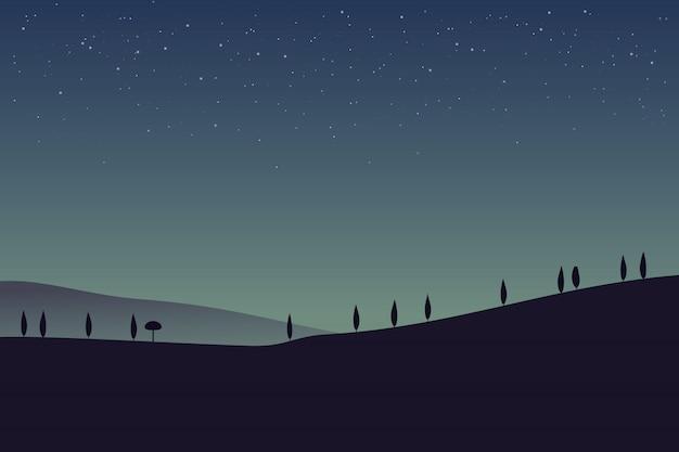Paisagem rural com montanhas e colinas