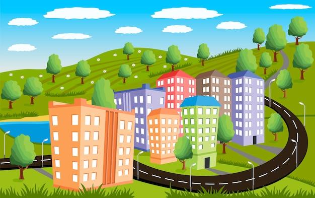 Paisagem rural com pequena cidade