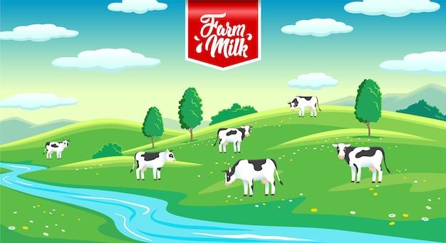 Paisagem rural com vacas no prado, leite de fazenda
