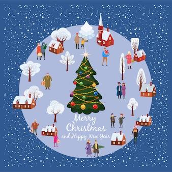 Paisagem rural de aldeia de inverno de natal e ano novo com árvore de natal e pessoas