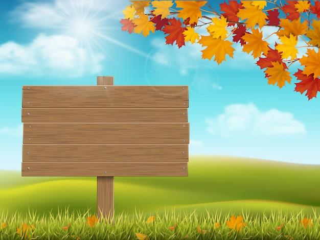 Paisagem rural de outono com placa