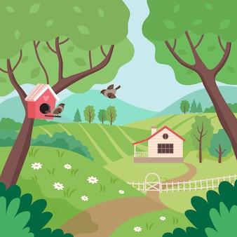 Paisagem rural de primavera com casa, árvores e pássaros.