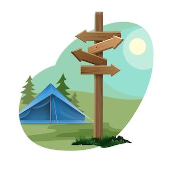 Paisagem rural de vetor com céu, sol, floresta, tenda azul e placa de sinalização direcional