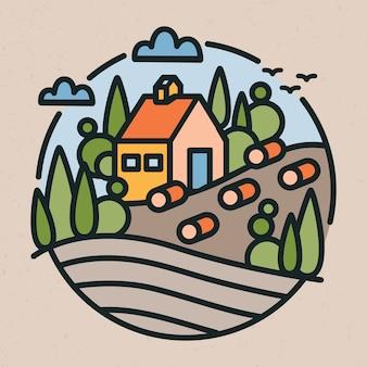 Paisagem rural ou rural, construção de fazenda, colinas e campos em estilo moderno de arte