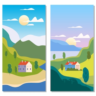 Paisagem rural tradicional suburbana edifícios, colinas e árvores montanhas mar sol