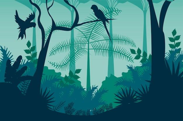 Paisagem selvagem da selva azul com papagaios voando