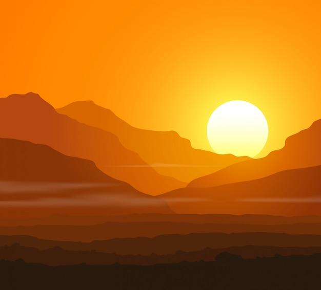 Paisagem sem vida com enormes montanhas ao pôr do sol