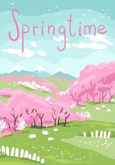 Paisagem serena de primavera, árvores florescendo e ovelhas pastando nos prados. ilustração vetorial