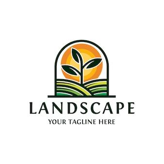 Paisagem sol planta logotipo