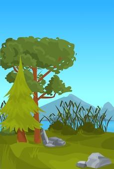 Paisagem spruce pinho montanha rio cana ao ar livre natureza