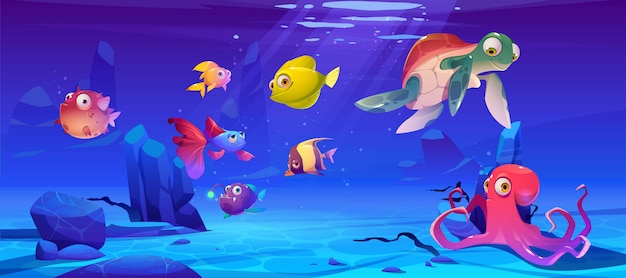 Paisagem subaquática com animais da vida marinha
