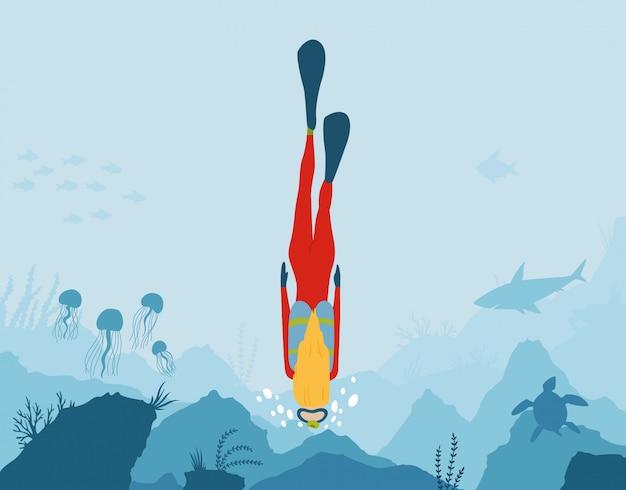 Paisagem subaquática com peixes, corais e algas