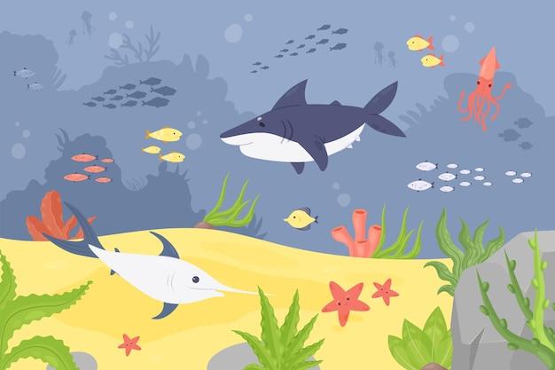 Paisagem subaquática da vida selvagem submarina com recife de coral peixes animais algas marinhas